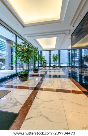 Perspective of the modern lobby, hallway of the luxury hotel, shopping  mall, business