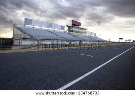 Perspective of tribune and straight in Jarama Racetrack, Madrid, Spain. Jarama racetrack.