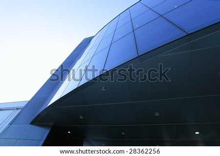 Perspective of wall modern trade centre close-up - stock photo
