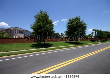 Perspective on road in a residential neighborhood