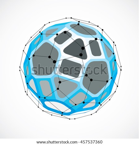Perspective technology shape with black lines and dots connected, polygonal wireframe object. Abstract blue faceted element for use as design structure on communication technology theme