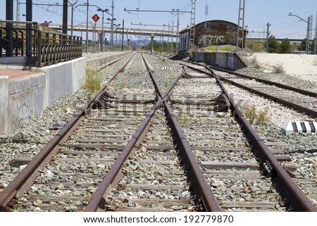 perspective train rails, detail of railways in Spain - stock photo