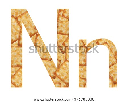 "Perspective unique letter ""N"" capital letter and lowercase. Alphabet N from Biscuits texture."