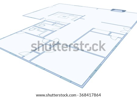 Perspective view of a blueprint of a residential home - stock photo