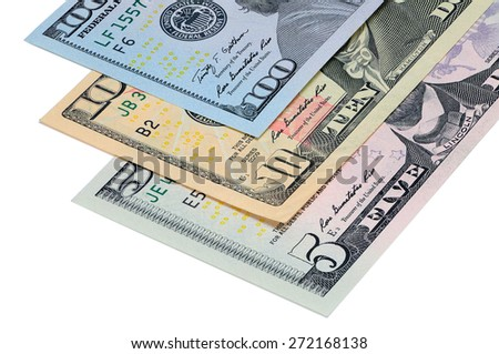 Perspective view of a part of the banknotes five, ten, one hundred dollars USA - stock photo