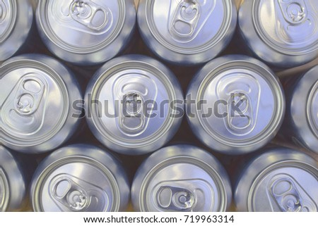 Perspective View of Aluminium Cola Cans From Above