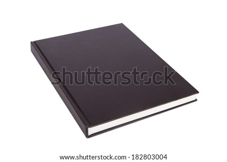 Perspective view of blank closed book for your design, isolated on white background.