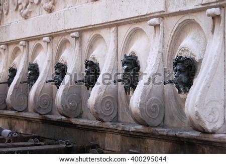 Perspective view of Calamo fountain in Ancona, Italy