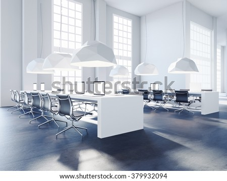 Perspective view of loft creative office. 3d rendering - stock photo