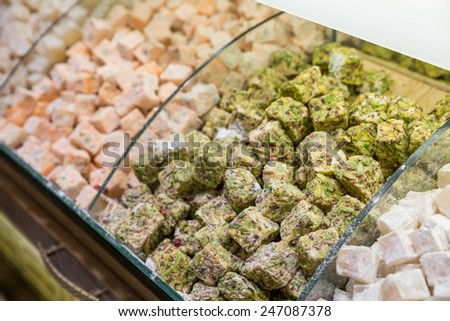 Perspective view of market with Traditional Dessert Turkish Delight - stock photo