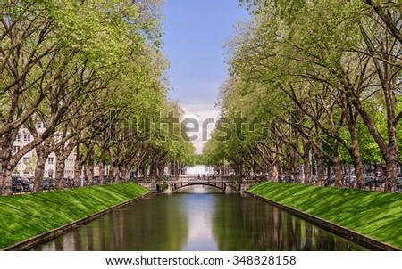 Perspective view of the historic avenue Koenigsallee (King's Avenue), Dusseldorf, Germany - stock photo