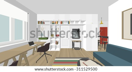 Perspective view of the interior living room. Raster version