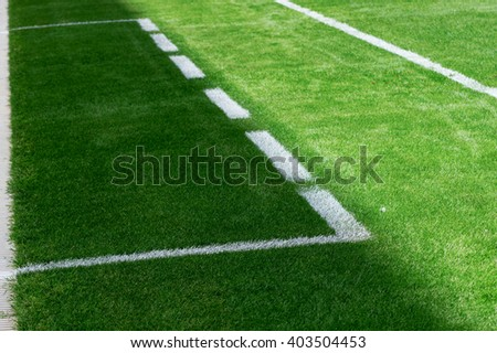 Perspective view of the lines of a soccer's field