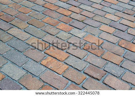 Perspective view of the old brick paving.