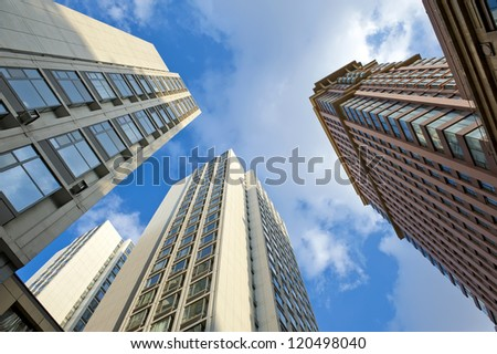 Perspective view of the skyscrapers and sky. - stock photo