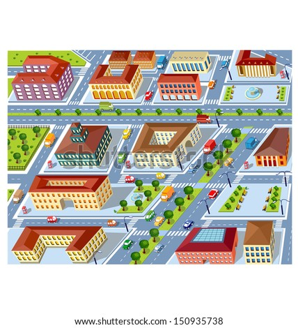 Perspective view of the urban neighborhoods of the city with buildings and vehicles - stock photo