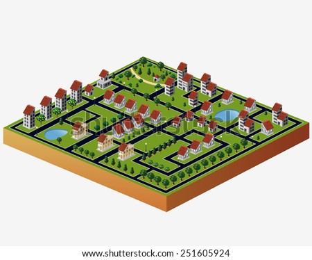 Perspective view of the village houses in the  sky - stock photo