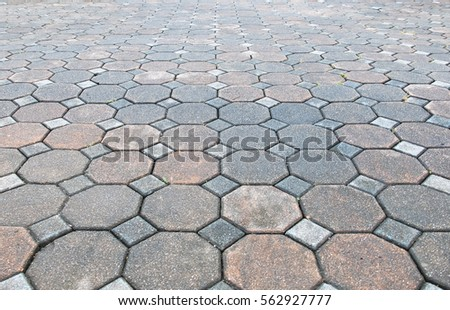 Delightful Perspective View Of Various Color Grunge Brick Stone On The Ground For  Street Road. Sidewalk
