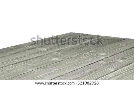 Perspective View Of Wooden Or Log Table Corner From Top On White Background  Included Clipping Path