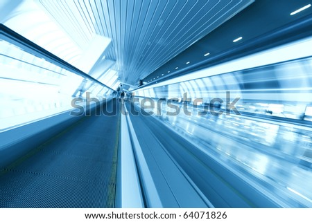 perspective view up while moving escalator - stock photo