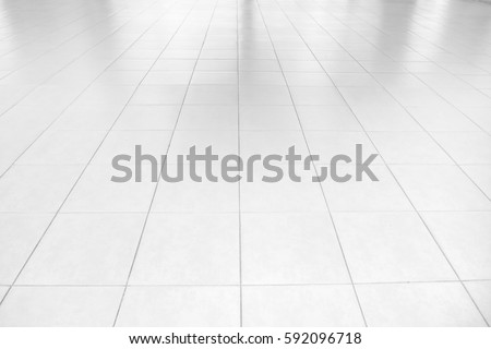 white tile floor. Perspective white tiles floor deck overlook the background  Services include product display template Tiles Floor Deck Overlook White Stock Photo 634300253