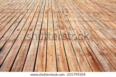 perspective wooden floor - stock photo