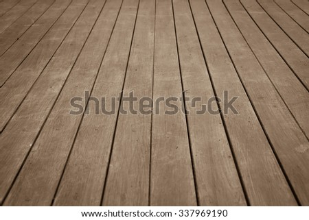 perspective wooden floor ,image in soft focusing ,vintage tone - stock photo