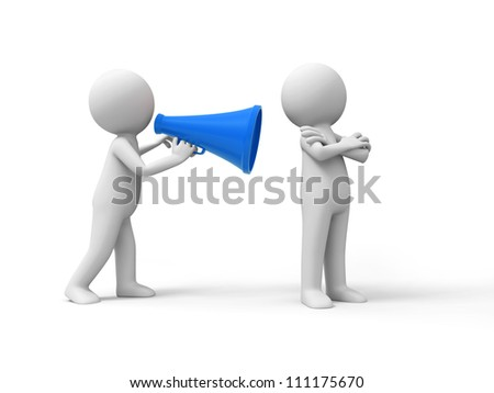 Persuade/advise/A people speak to the other with a speaker - stock photo