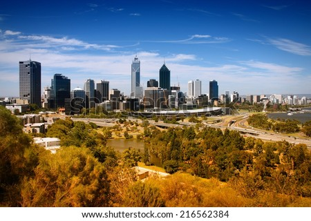 Perth, Australia. City wide skyline view from Kings Park. Australian urban cityscape. - stock photo