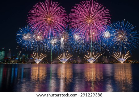 Perth Australia Day Skyworks which is the biggest Australia day fireworks display in Australia celebrating the nation's federation.  fireworks at Swan river, Perth city. - stock photo