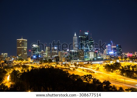 Perth, Australia - January 9, 2015: Night view of the Central Business District.