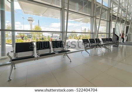 PERTH, AUSTRALIA - NOVEMBER 12,2016 : Empty departure lounge at the airport . Perth Airport is a domestic and international airport serving Perth, the capital and largest city of Western Australia.