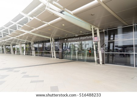PERTH, AUSTRALIA - NOVEMBER 4,2016 : Modern glass facade of Perth airport. Perth Airport is a domestic and international airport serving Perth, the capital and largest city of Western Australia.