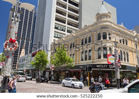 PERTH, AUSTRALIA - November 18, 2016 : Perth downtown with modern commercial and historic buildings in Perth, Western Australia.
