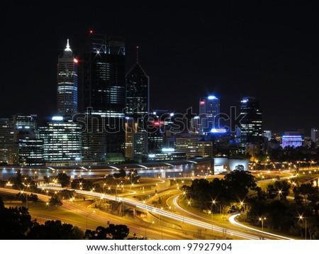 Perth, evening skyline from Kings Park, Western Australia, Australia - stock photo