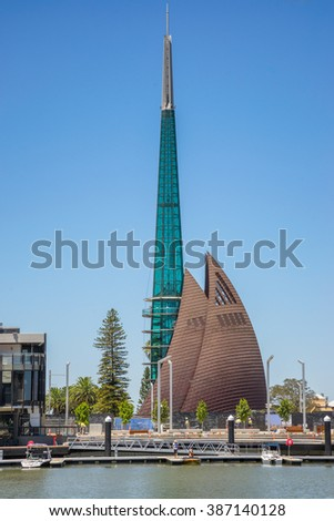 Perth, QN, Australia on 8th Feb 2016:The Swan Bells are a set of 18 bells hanging in a specially built 82.5 metres high copper and glass campanile in Perth, Western Australia.
