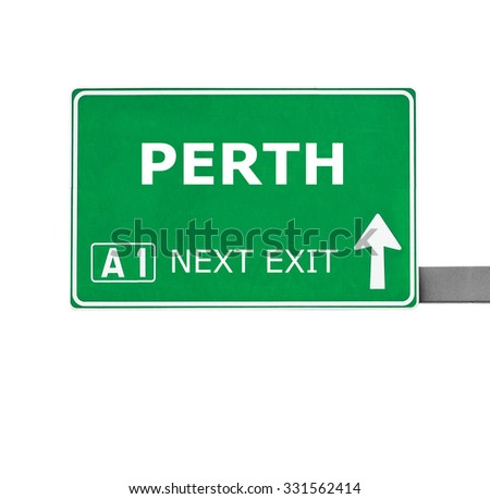 PERTH road sign isolated on white