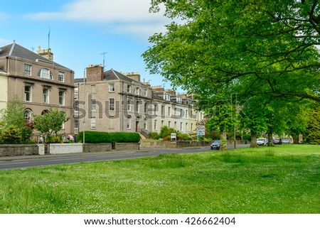 PERTH, SCOTLAND - MAY 24, 2015: South Street in the center of Perth, Scotland.