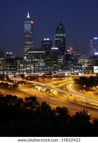 Perth Skyline from Kings Park by Night