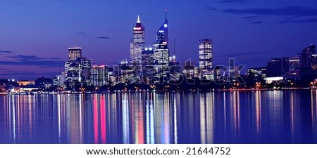 Perth Skyline from Swan River by Night - stock photo