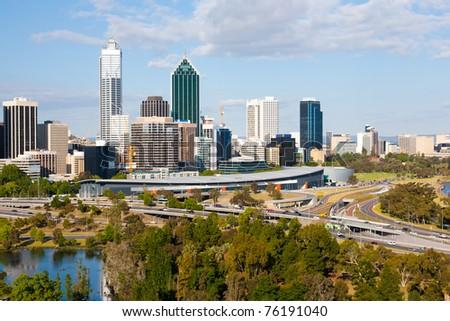 Perth Western Australia skyline from Kings Park - stock photo