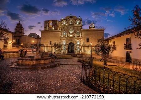 PERU, CAJAMARCA: Night view of Belen church. - stock photo