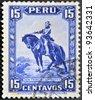 PERU - CIRCA 1935: A stamp printed in Peru shows Francisco Pizarro, circa 1935 - stock photo