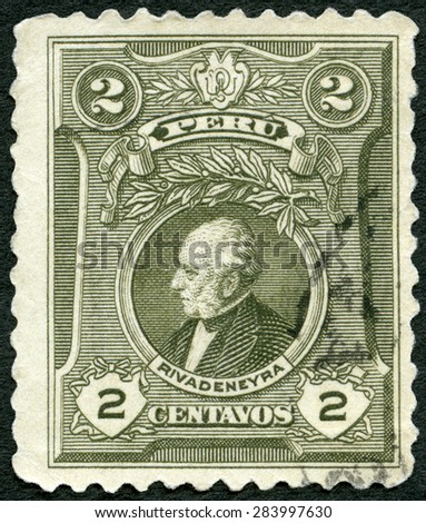 PERU - CIRCA 1924: A stamp printed in Peru shows portrait of Jose Tejada Rivadeneyra, 100th birth anniversary, Centenary of Battle of Ayacucho which ended Spanish power in South America, circa 1927  - stock photo