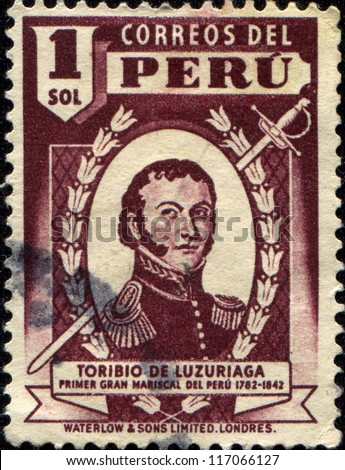 PERU - CIRCA 1938: A stamp printed in Peru shows Toribio de Luzuriaga and Mejia  Peruvian-Argentine military who participated in the War of Independence of Argentina and Peru, circa 1938