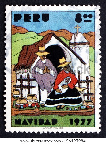 PERU - CIRCA 1977: a stamp printed in the Peru shows Indian Nativity, Christmas, circa 1977 - stock photo