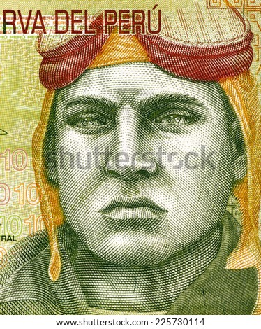 PERU - CIRCA 2009: Jose Quinones Gonzales (1914-1941) on 10 Nuevos Soles 2009 Banknote from Peru. Peruvian military aviator and national aviation hero. - stock photo
