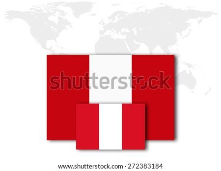 Peru flag and world map background - stock photo