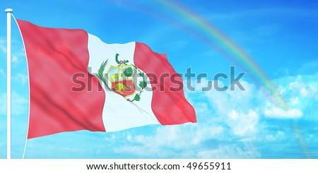 Peru flag on beautiful sky background - stock photo