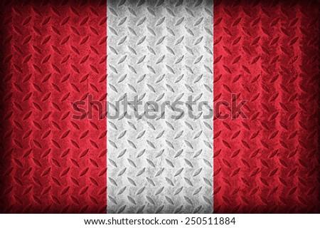 Peru flag pattern on the diamond metal plate texture ,vintage style - stock photo